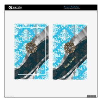 Personalized pale blue vintage damask pattern skin for kindle fire