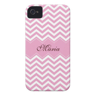 Personalized pale pink chevron pattern case Case-Mate iPhone 4 case