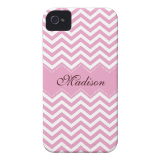 Personalized pale pink chevron pattern case iPhone 4 cases