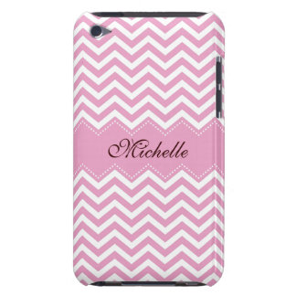 Personalized pale pink chevron pattern ipod case barely there iPod cover