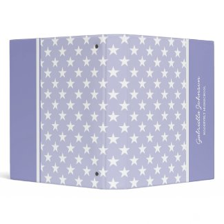 Personalized: Pale Purple With White Stars Binder