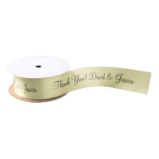 Personalized pale yellow wedding favor ribbon