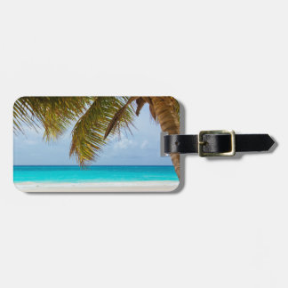 Personalized|| Palm tree, blue sea and white sand Luggage Tag