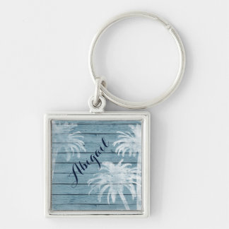 Personalized Palm Trees on Rustic Wood Beach Keychain
