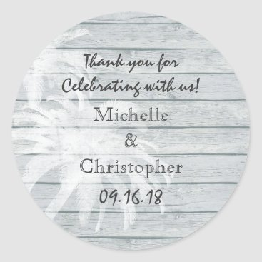 Beach Themed Personalized Palm Trees on Wood Beach Wedding Classic Round Sticker