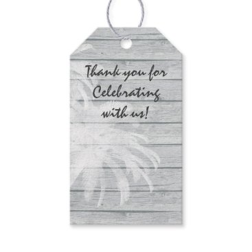 Beach Themed Personalized Palm Trees on Wood Beach Wedding Gift Tags