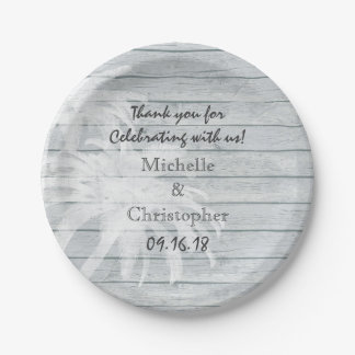 Personalized Palm Trees on Wood Beach Wedding Paper Plate