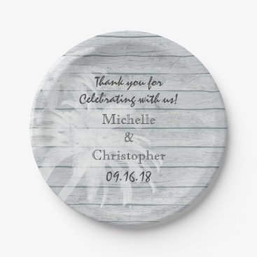Beach Themed Personalized Palm Trees on Wood Beach Wedding Paper Plate