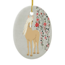 Personalized Palomino Pony and Flowers Horse Ceramic Ornament
