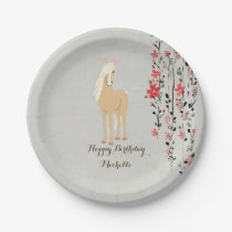Personalized Palomino Pony Flowers Horse Birthday Paper Plate