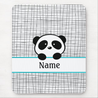 Personalized Panda Bear Aqua Black Mouse Pad