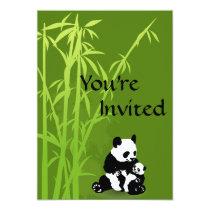 Personalized Panda Bear, Bamboo Baby Shower Invite