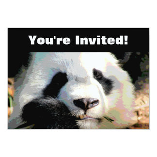 Personalized Panda Bear Birthday Party 5x7 Paper Invitation Card