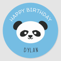 Personalized Panda Bear Kawaii Birthday Boys Blue Classic Round Sticker