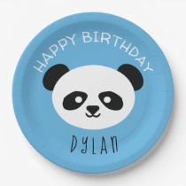 Personalized Panda Bear Kawaii Birthday Boys Blue Paper Plate