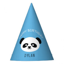 Personalized Panda Bear Kawaii Birthday Boys Blue Party Hat