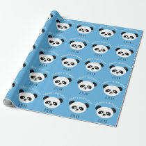 Personalized Panda Bear Kawaii Birthday Boys Blue Wrapping Paper