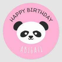 Personalized Panda Bear Kawaii Birthday Girls Pink Classic Round Sticker
