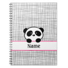 Personalized Panda Bear Pink Black Notebook