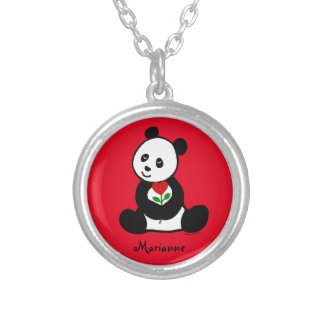 Personalized Panda Cartoon and A Heart Flower Silver Plated Necklace