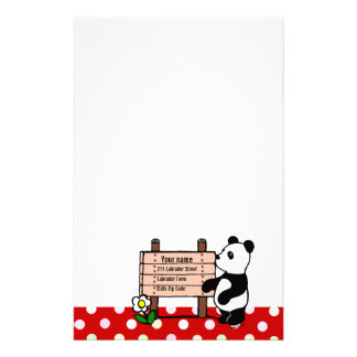 Personalized Panda Cartoon and Polka Dots Stationery
