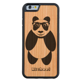 Personalized Panda Carved Cherry iPhone 6 Bumper Case