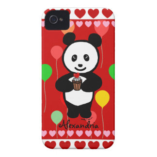 Personalized Panda Cupcake Cartoon and Balloons Case-Mate iPhone 4 Case