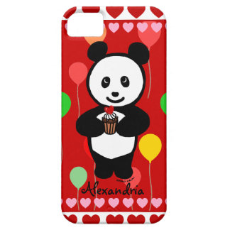 Personalized Panda Cupcake Cartoon and Balloons iPhone SE/5/5s Case