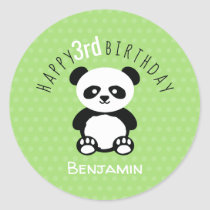 Personalized Panda Kawaii Birthday Green Kids Classic Round Sticker