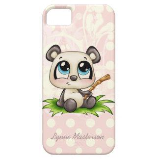 Personalized panda pink polkadots iphone 5 case