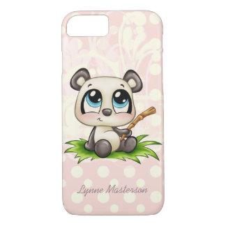 Personalized panda pink polkadots iPhone 7 case