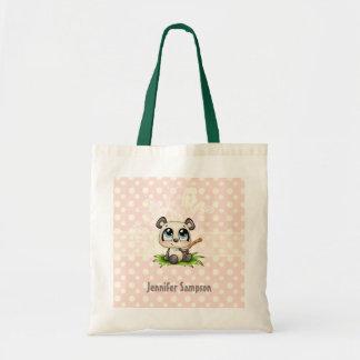 Personalized panda pink polkadots tote bag