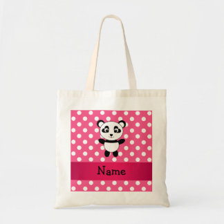 Personalized panda pink white polka dots budget tote bag