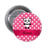 Personalized panda pink white polka dots button