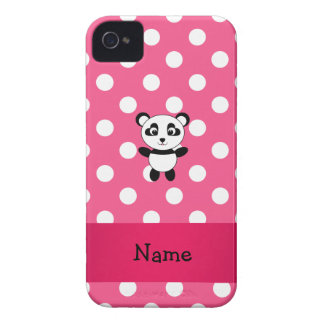 Personalized panda pink white polka dots Case-Mate iPhone 4 case