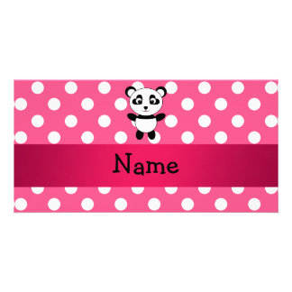 Personalized panda pink white polka dots photo cards