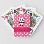 Personalized panda pink white polka dots playing cards