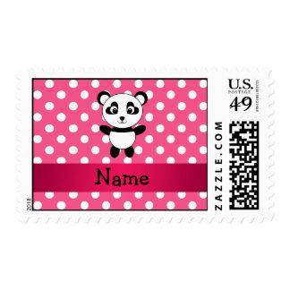 Personalized panda pink white polka dots stamps