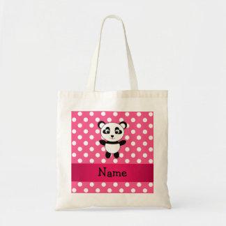 Personalized panda pink white polka dots tote bag