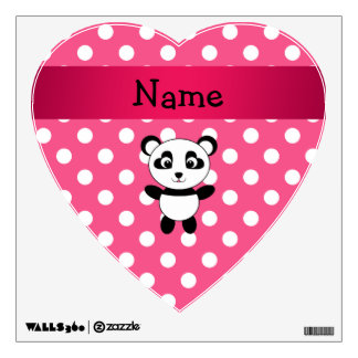 Personalized panda pink white polka dots wall decal