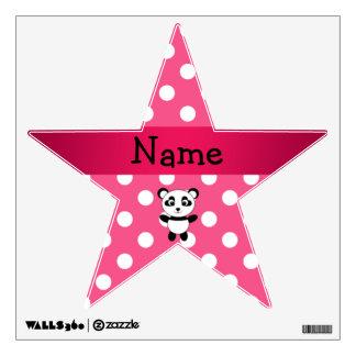 Personalized panda pink white polka dots wall decal