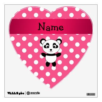 Personalized panda pink white polka dots wall sticker
