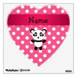Personalized panda pink white polka dots wall graphics