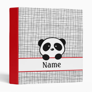 Personalized Panda School Red Black Binder