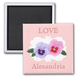 Personalized Pansies Floral 2 Inch Square Magnet