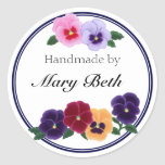 Personalized Pansies Floral Handmade Label Classic Round Sticker