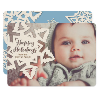 Personalized Paper Cut Out Holidays Snow Flake Card