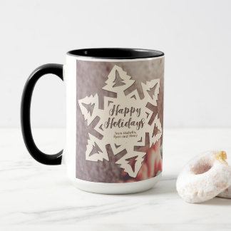 Personalized Paper Cut Out Holidays Snow Flake Mug