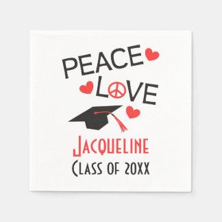 Personalized Paper Napkins Peace Love Graduation