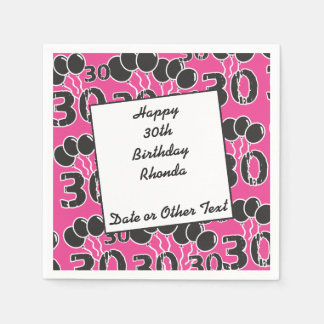 Personalized Paper Napkins PINK 30th Birthday